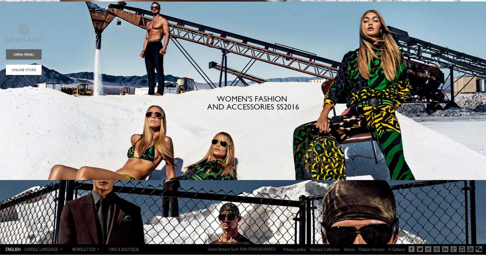 Versace Webpage designed for females