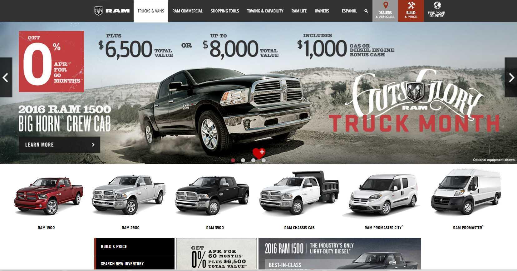 Ram Trucks a webpage design preferred by men